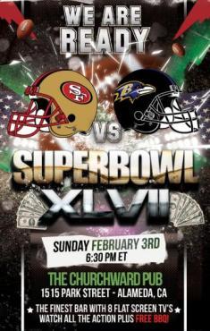 Super Bowl 2013 at Churchward Pub, Alameda
