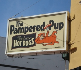 Pampered Pup iconic sign on Park Street, Alameda