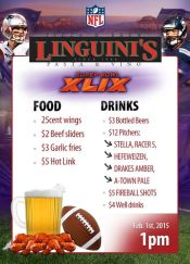 Super Bowl specials at Linguinis Alameda