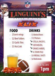 Super Bowl specials at Linguinis Alameda